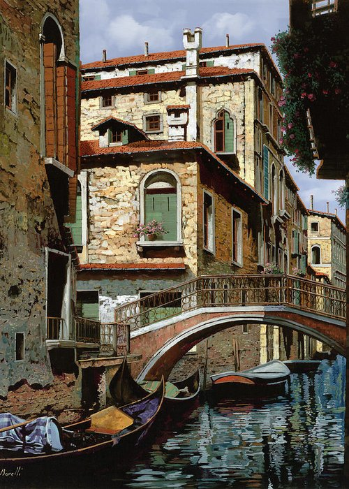 Venice Greeting Card featuring the painting Rio Degli Squeri by Guido Borelli