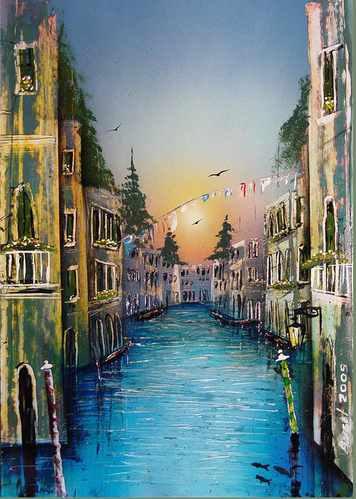 Impressionistic Greeting Card featuring the painting Rio Madalena Venice by Angel Ortiz