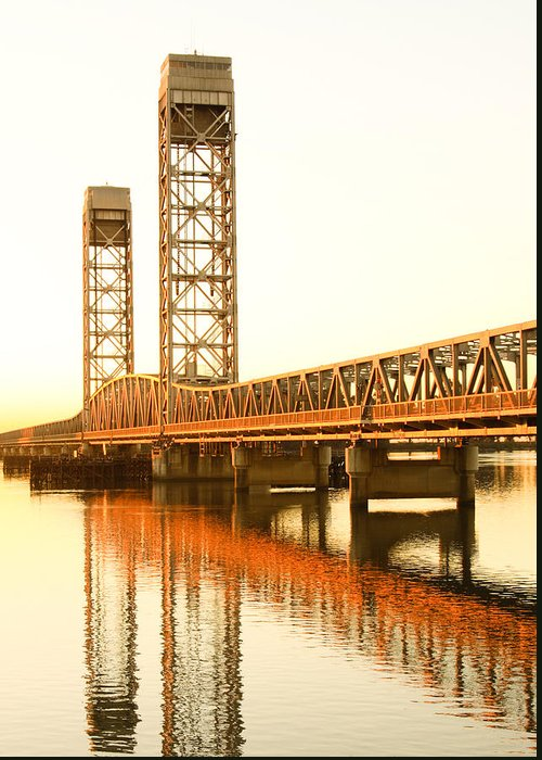 California Greeting Card featuring the photograph Rio Vista Bridge Sunrise by Troy Montemayor