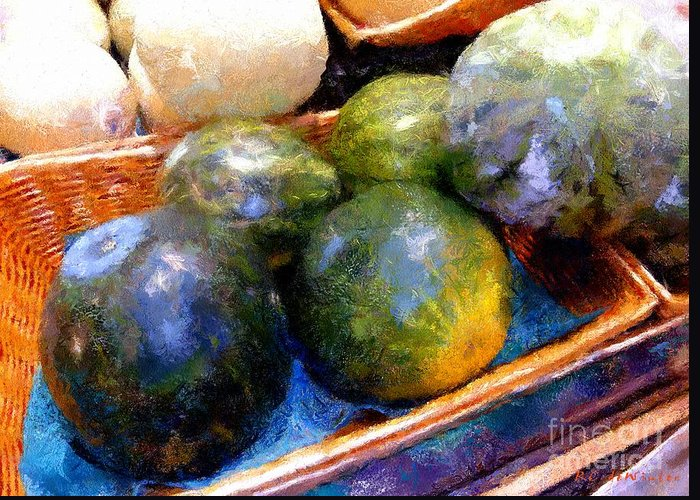 Basket Greeting Card featuring the painting Ripe And Luscious Melons by RC DeWinter