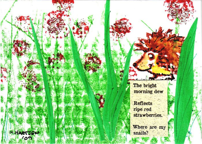 Hedgehogs Greeting Card featuring the painting Ripe Red Strawberries Hedgie Haiku 1 by Kerry Hartjen