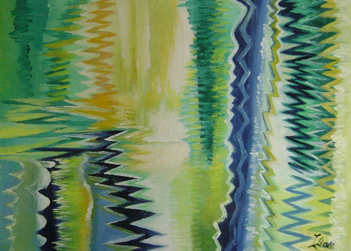 Abstract Greeting Card featuring the painting Ripples No.2 by Lian Zhen