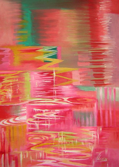 Abstract Greeting Card featuring the painting Ripples No.3 by Lian Zhen
