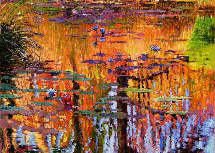 Flower Garden Greeting Card featuring the painting Ripples On Fall Pond by John Lautermilch