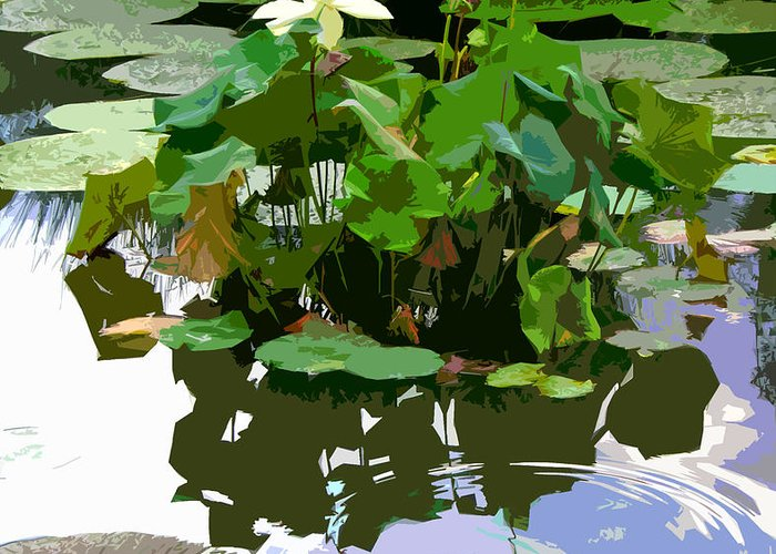 Lotus Greeting Card featuring the photograph Ripples on the Lotus Pond by John Lautermilch