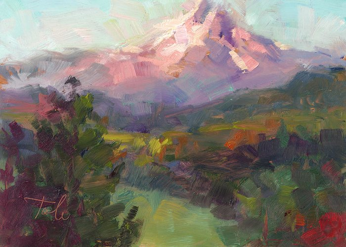 Mountain Greeting Card featuring the painting Rise And Shine by Talya Johnson