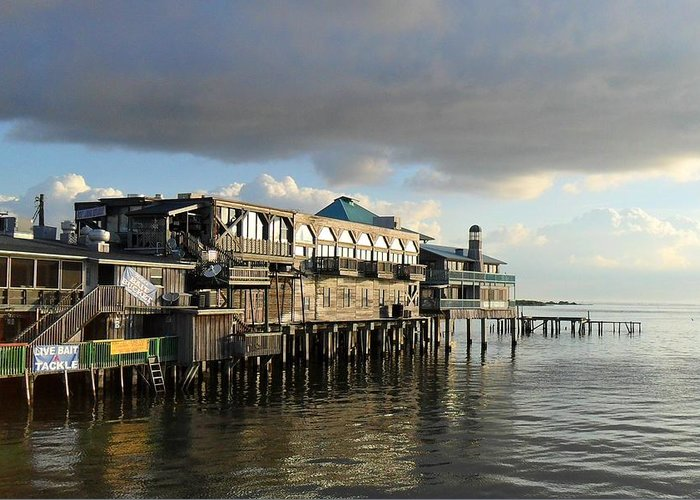 Cedar Key Greeting Card featuring the photograph Rising Storm Dock Street by Sheri McLeroy