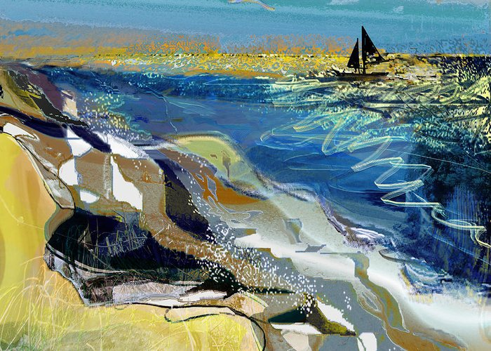 Sea Greeting Card featuring the painting Rising Wind by Anne Weirich
