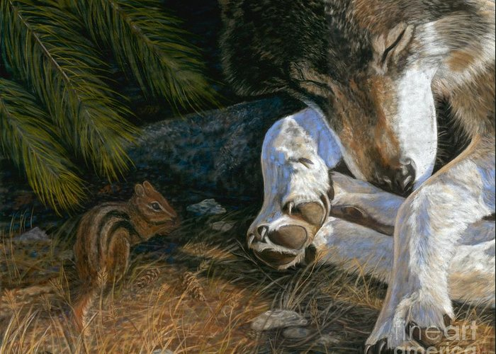 Wolf Greeting Card featuring the painting Risky Business by Sheri Gordon