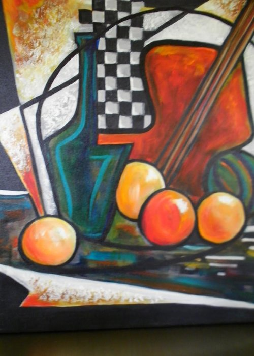 Still Life Greeting Card featuring the painting Ristorante De Madrid by Jane Toliver