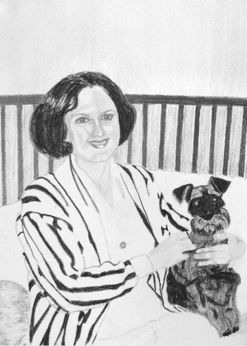 Rita Lady Dog Schnauzer Greeting Card featuring the drawing Rita by Cathy Jourdan