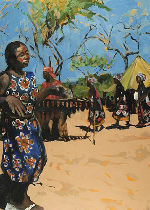 African Greeting Card featuring the painting Ritual by Michelle Winnie