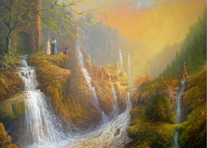 Rivendell Greeting Card featuring the painting Rivendell Wisdom Of The Elves. by Joe Gilronan