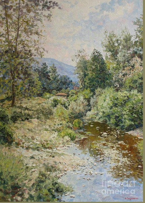 Landscape Greeting Card featuring the painting River At Bulgarian Foothills by Andrey Soldatenko
