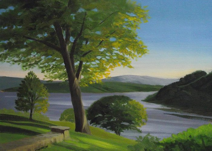 Landscape Greeting Card featuring the painting River Bend by Robert Rohrich