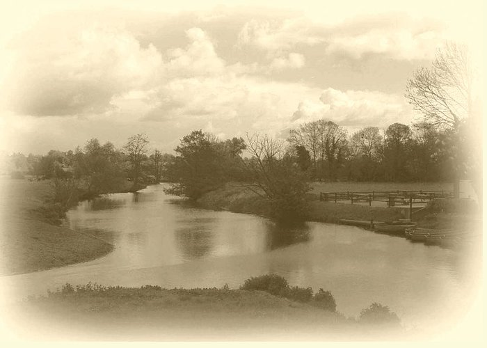 Sepia.river Greeting Card featuring the photograph River Bend by Terence Davis