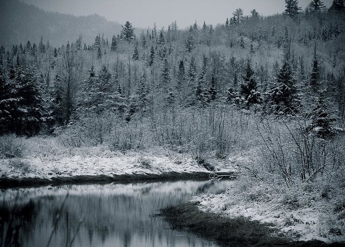 Scenic Greeting Card featuring the photograph River Bend Winter by Todd Bissonette