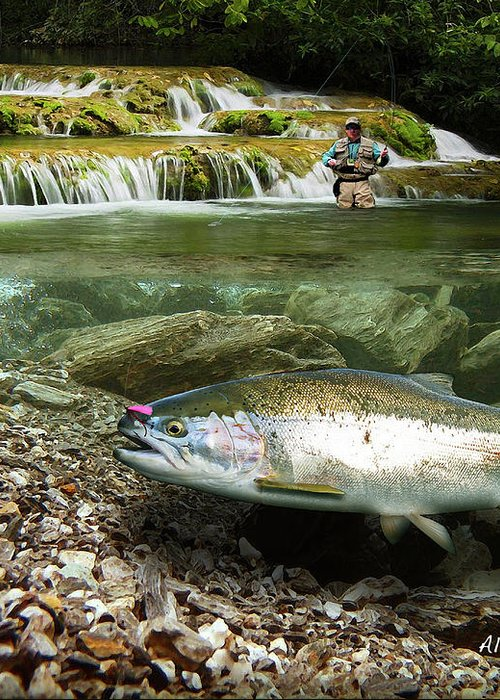 Trout Greeting Card featuring the painting River Chrome by Alex Suescun