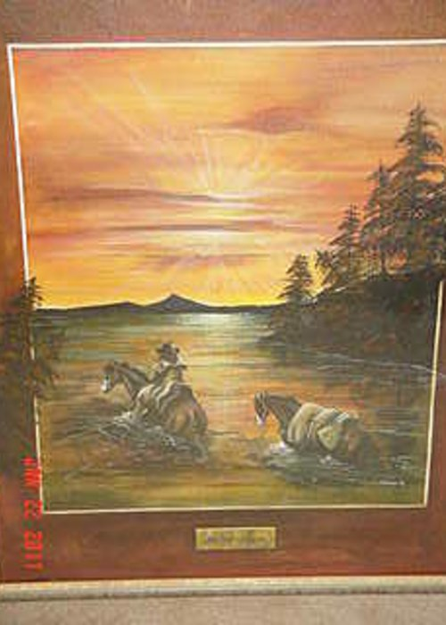 Horse And River Landscape Greeting Card featuring the painting River Crossing by John Gibson
