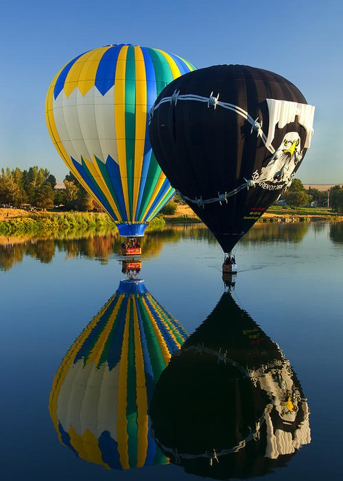 Balloon Greeting Card featuring the photograph River Dance by Mike Dawson