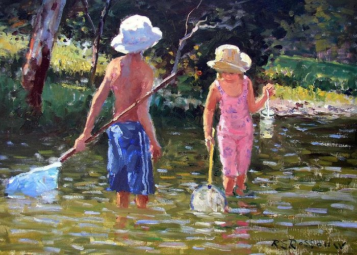 River Fun Greeting Card featuring the painting River Fun by Roelof Rossouw