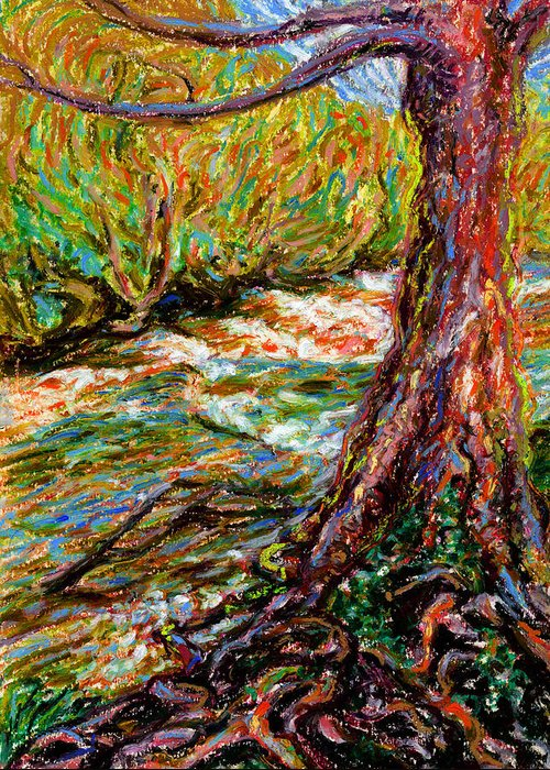 River Greeting Card featuring the painting River Hafren In September by Alexandra Cook
