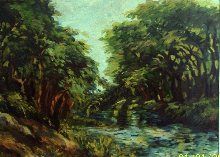 Nature Greeting Card featuring the painting River by Kishore Ghosh