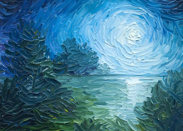 Nature; Lake; Sunset; Sunrise; Serene; Forest; Trees; Water; Ripples; Clearing; Lagoon; James Christopher Hill; Jameshillgallery.com; Foliage; Sky; Realism; Oils; Moon; Moonlight; Reflection; Blue; Lapis Greeting Card featuring the painting River Moon by James Christopher Hill