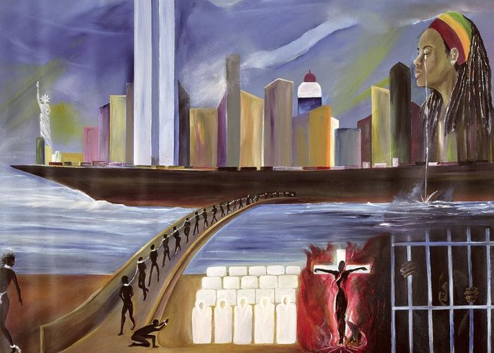 Crossing Greeting Card featuring the painting River Of Babylon by Ikahl Beckford