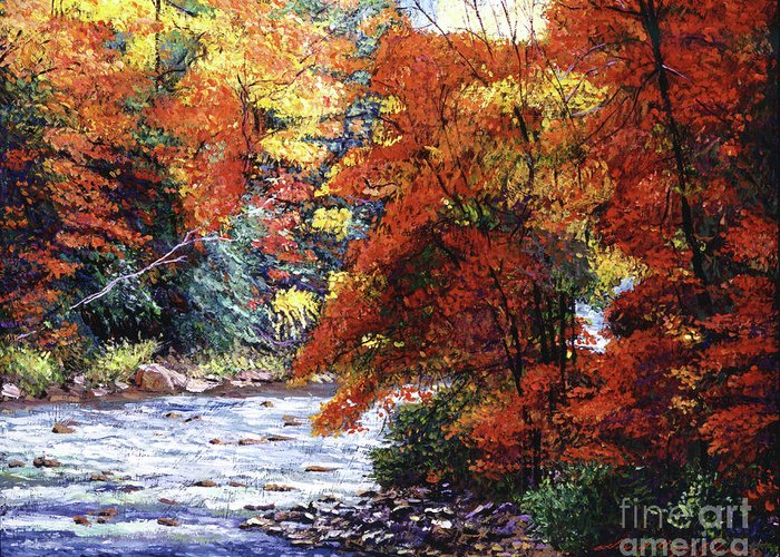 Landscape Greeting Card featuring the painting River Of Colors by David Lloyd Glover