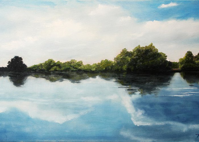 Landscape Greeting Card featuring the painting River of Dreams by Darko Topalski