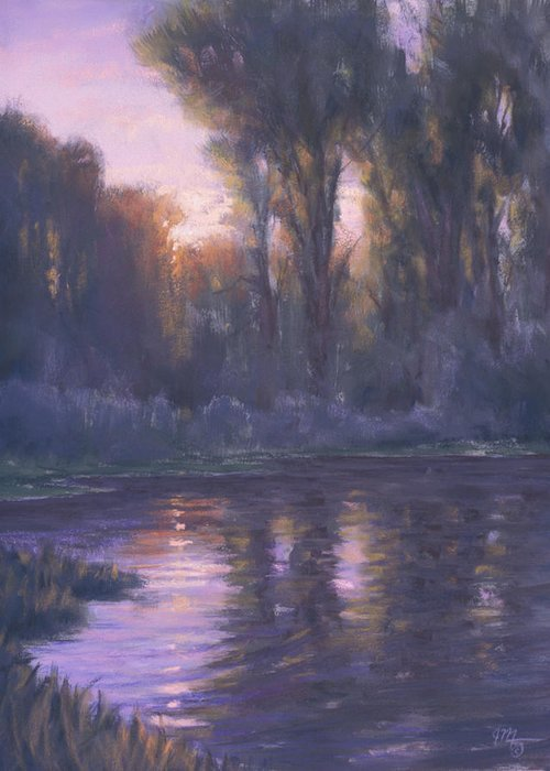 Romantic Light Greeting Card featuring the painting River Of Light by Joe Mancuso