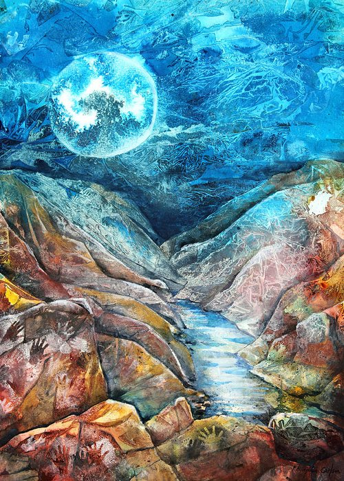 P.allinghamcarlson Greeting Card featuring the painting River Of Souls by Patricia Allingham Carlson