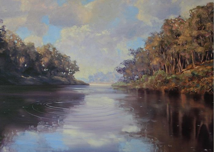 Oil On Canvas Greeting Card featuring the painting River Peace by Michael Vires