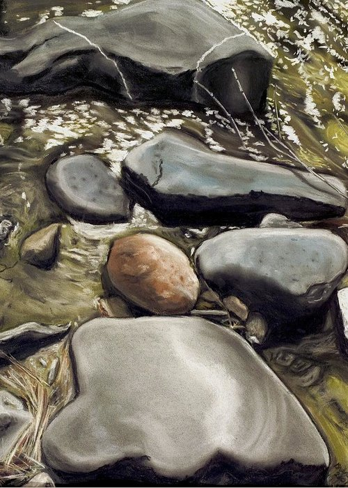 River Rock Greeting Card featuring the painting River Rock Formations by Brenda Williams