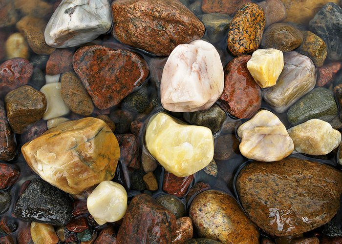 Rocks Greeting Card featuring the photograph River Rocks by Tom Wray