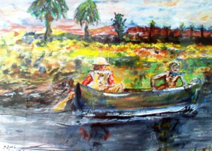 Lovers Canoing Florida River In Winter Greeting Card featuring the painting River Romance by Alfred P Verhoeven