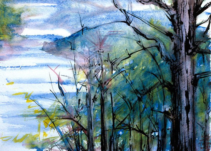 Landscape Greeting Card featuring the painting River Scene by Tom Hefko