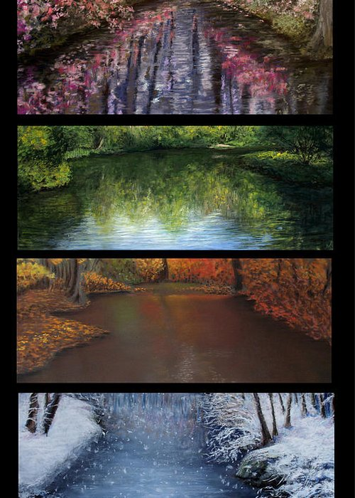 Landscape Greeting Card featuring the pastel River Seasons by Susan Jenkins