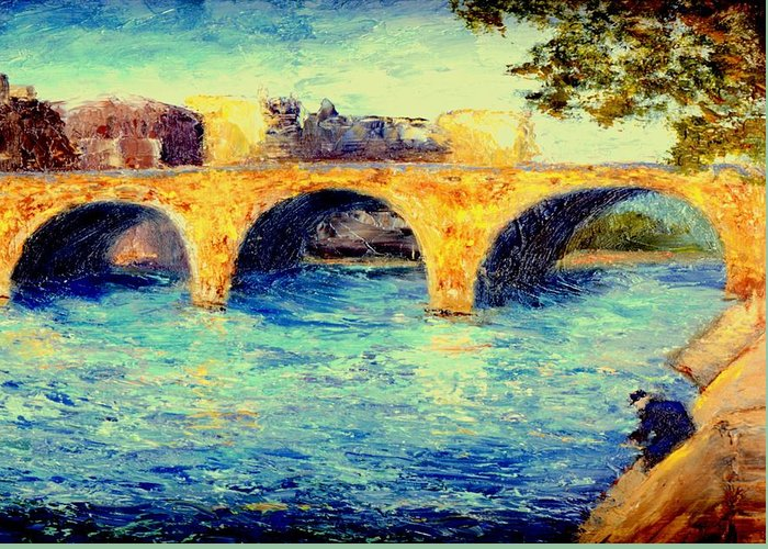 Impressionism Greeting Card featuring the painting River Seine Bridge by Gail Kirtz
