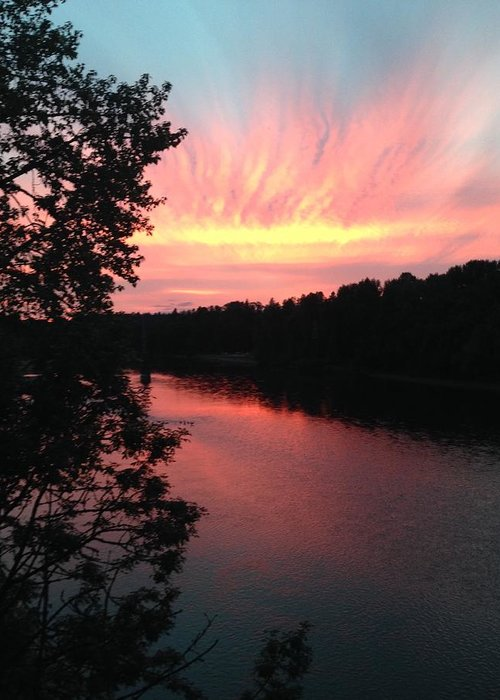 River Greeting Card featuring the photograph River sunset by Shari Chavira