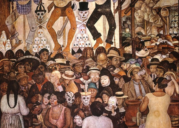 20th Century Greeting Card featuring the painting Day Of The Dead Mural by Diego Rivera