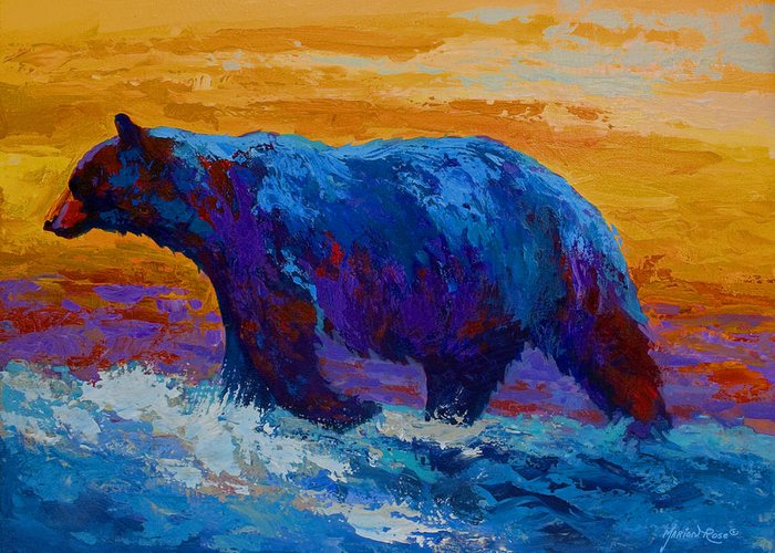 Bear Greeting Card featuring the painting Rivers Edge I by Marion Rose