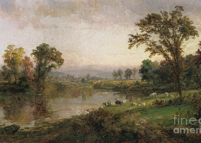 Riverscape - Early Autumn Greeting Card featuring the painting Riverscape In Early Autumn by Jasper Francis Cropsey