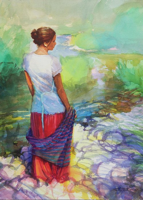 Country Greeting Card featuring the painting Riverside Muse by Steve Henderson