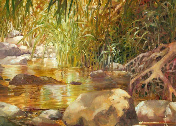 River Greeting Card featuring the painting Riverside Pool by Monica Linville