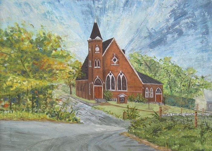 Church Greeting Card featuring the painting Riverton Church by Judith Espinoza