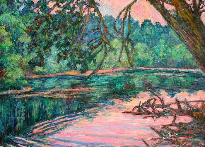 Riverview Park Greeting Card featuring the painting Riverview At Dusk by Kendall Kessler