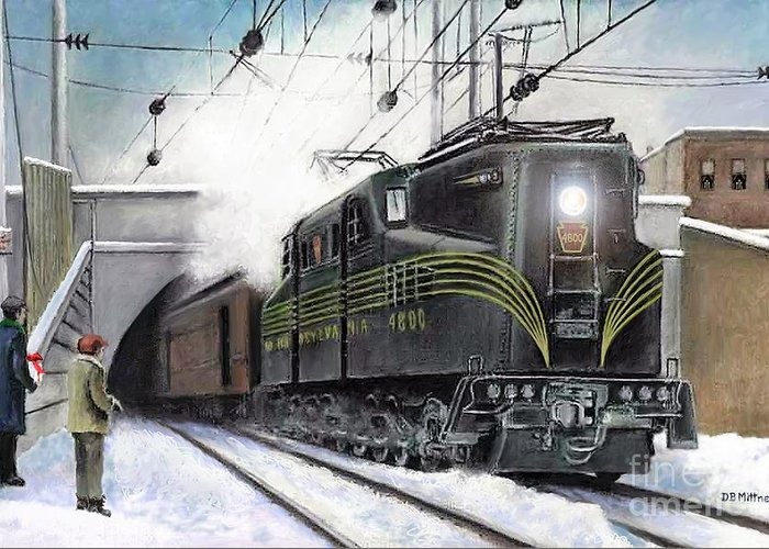 Pennsylvania Railroad Greeting Card featuring the painting Rivets by David Mittner