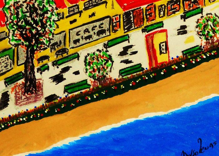 Boardwalk Greeting Card featuring the mixed media Riviera Beach Cafe by Adolfo hector Penas alvarado
